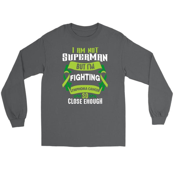 I Am Not Superman But Im Fighting Lymphoma So Close Enough Gift Long Sleeve-T-shirt-Gildan Long Sleeve Tee-Grey-JoyHip.Com