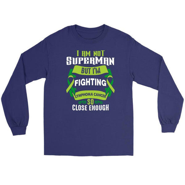 I Am Not Superman But Im Fighting Lymphoma So Close Enough Gift Long Sleeve-T-shirt-Gildan Long Sleeve Tee-Purple-JoyHip.Com