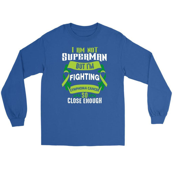 I Am Not Superman But Im Fighting Lymphoma So Close Enough Gift Long Sleeve-T-shirt-Gildan Long Sleeve Tee-Royal Blue-JoyHip.Com