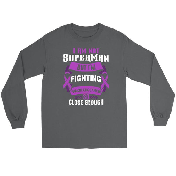 I Am Not Superman But Im Fighting Pancreatic Cancer So Close Enough Long Sleeve-T-shirt-Gildan Long Sleeve Tee-Grey-JoyHip.Com