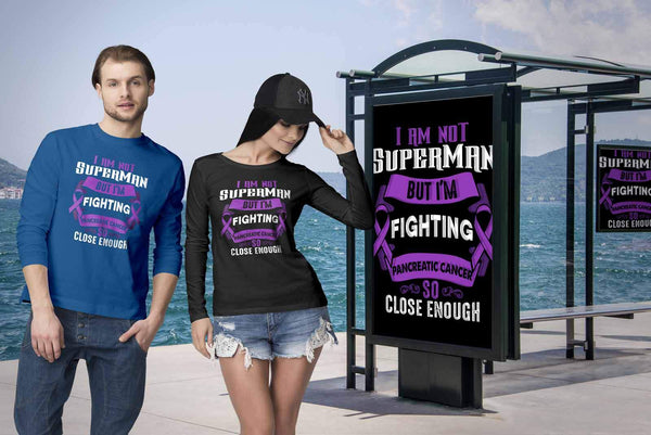 I Am Not Superman But Im Fighting Pancreatic Cancer So Close Enough Long Sleeve-T-shirt-JoyHip.Com