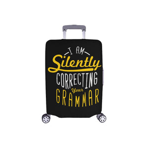 I Am Silently Correcting Your Grammar Funny Travel Luggage Cover Protector 18-28-S-Black-JoyHip.Com