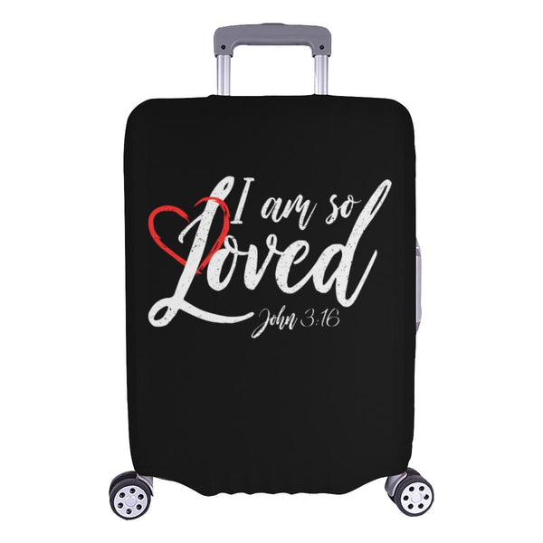 I Am So Loved John3:16 Christian Travel Luggage Cover Suitcase Protector-L-Black-JoyHip.Com