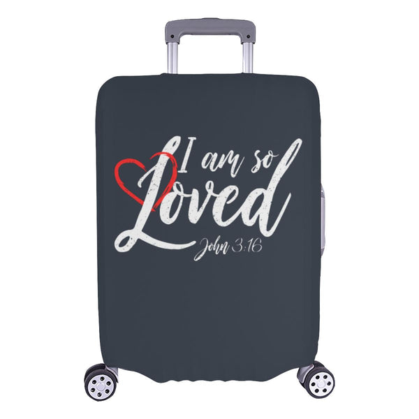 I Am So Loved John3:16 Christian Travel Luggage Cover Suitcase Protector-L-Grey-JoyHip.Com