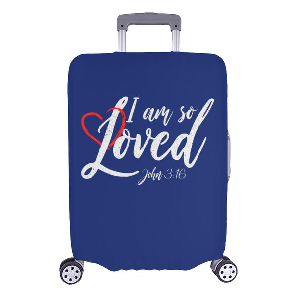 I Am So Loved John3:16 Christian Travel Luggage Cover Suitcase Protector-L-Navy-JoyHip.Com
