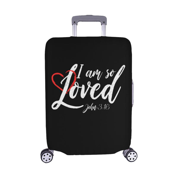 I Am So Loved John3:16 Christian Travel Luggage Cover Suitcase Protector-M-Black-JoyHip.Com