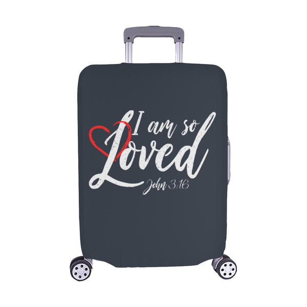 I Am So Loved John3:16 Christian Travel Luggage Cover Suitcase Protector-M-Grey-JoyHip.Com