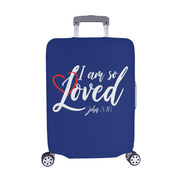 I Am So Loved John3:16 Christian Travel Luggage Cover Suitcase Protector-M-Navy-JoyHip.Com