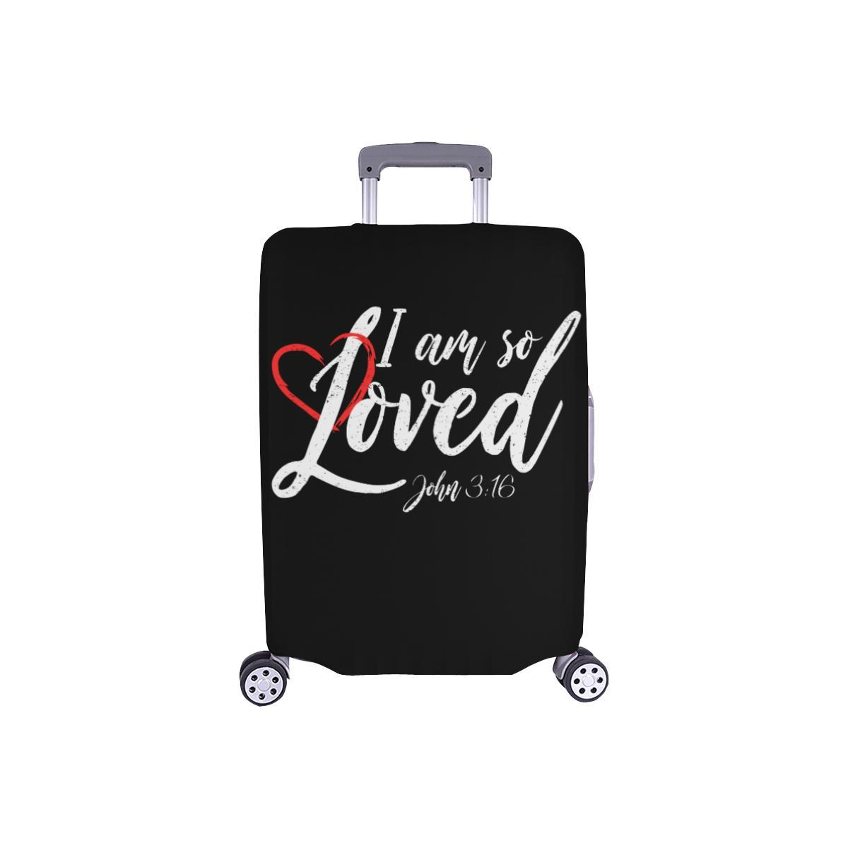 I Am So Loved John3:16 Christian Travel Luggage Cover Suitcase Protector-S-Black-JoyHip.Com