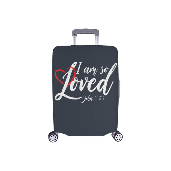 I Am So Loved John3:16 Christian Travel Luggage Cover Suitcase Protector-S-Grey-JoyHip.Com