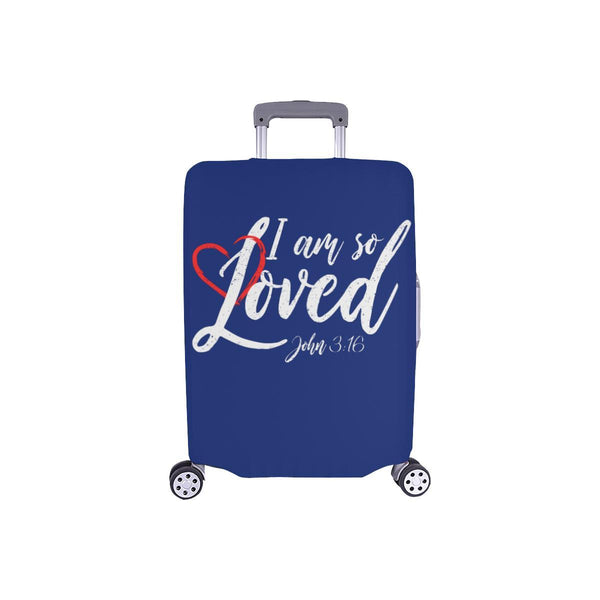 I Am So Loved John3:16 Christian Travel Luggage Cover Suitcase Protector-S-Navy-JoyHip.Com