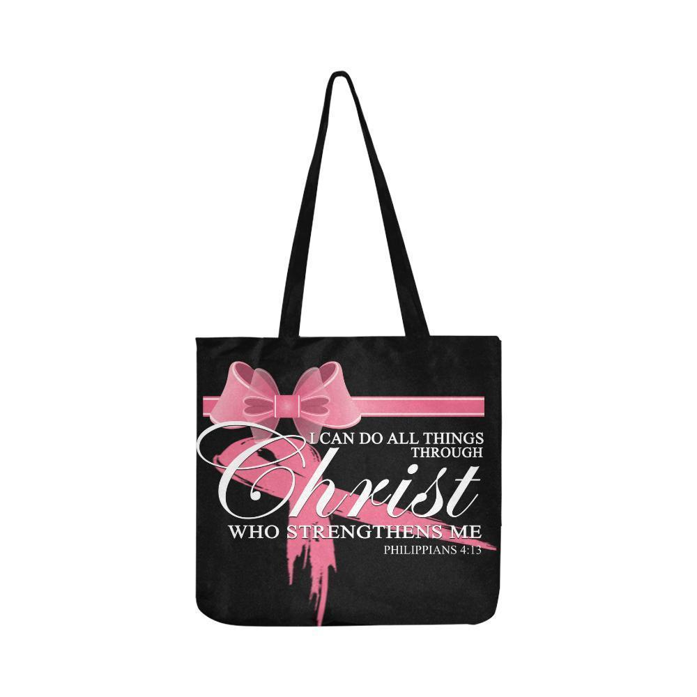 I Can Do All Thing Through Christ Breast Cancer Grocery Reusable Produce Bags-One Size-Black-JoyHip.Com