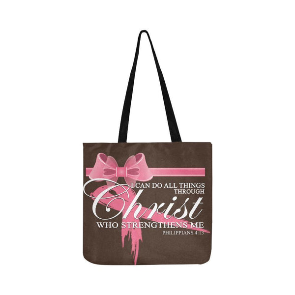 I Can Do All Thing Through Christ Breast Cancer Grocery Reusable Produce Bags-One Size-Brown-JoyHip.Com