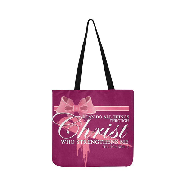 I Can Do All Thing Through Christ Breast Cancer Grocery Reusable Produce Bags-One Size-Maroon-JoyHip.Com