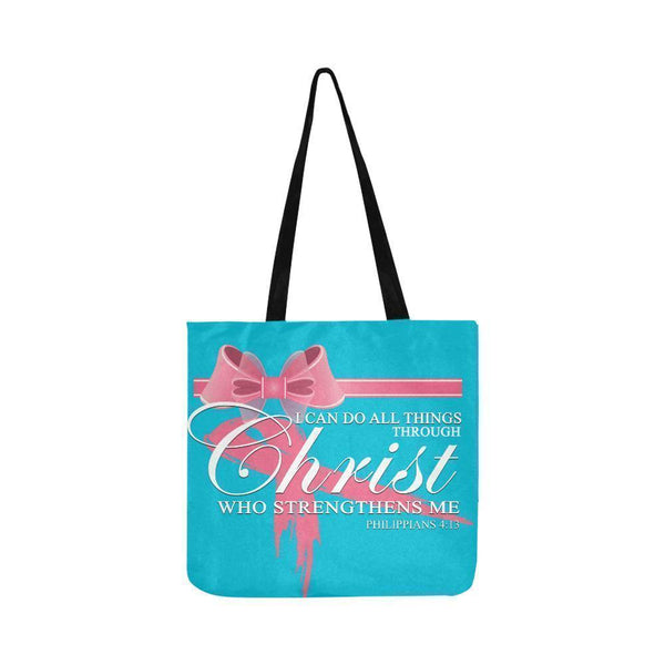 I Can Do All Thing Through Christ Breast Cancer Grocery Reusable Produce Bags-One Size-Turquoise-JoyHip.Com