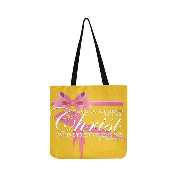 I Can Do All Thing Through Christ Breast Cancer Grocery Reusable Produce Bags-One Size-Yellow-JoyHip.Com