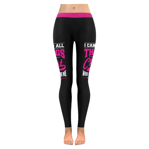 I Can Do All Thing Through Christ Breast Cancer Pink Ribbon UPF40 Women Leggings-JoyHip.Com