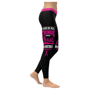 I Can Do All Thing Through Christ Breast Cancer Pink Ribbon UPF40 Women Leggings-XXS-Black-JoyHip.Com