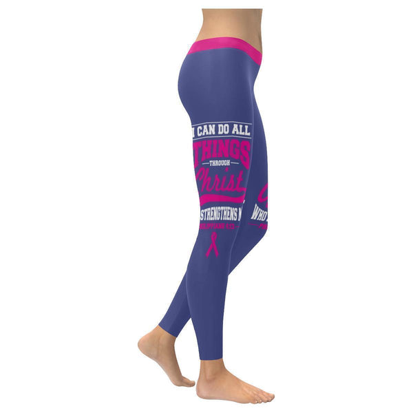 I Can Do All Thing Through Christ Breast Cancer Pink Ribbon UPF40 Women Leggings-XXS-Orchid-JoyHip.Com