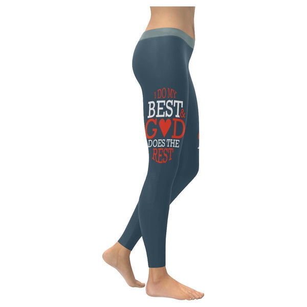 I Do My Best & God Does The Rest Christian Jesus Faith UPF40+ Womens Leggings-XXS-Grey-JoyHip.Com
