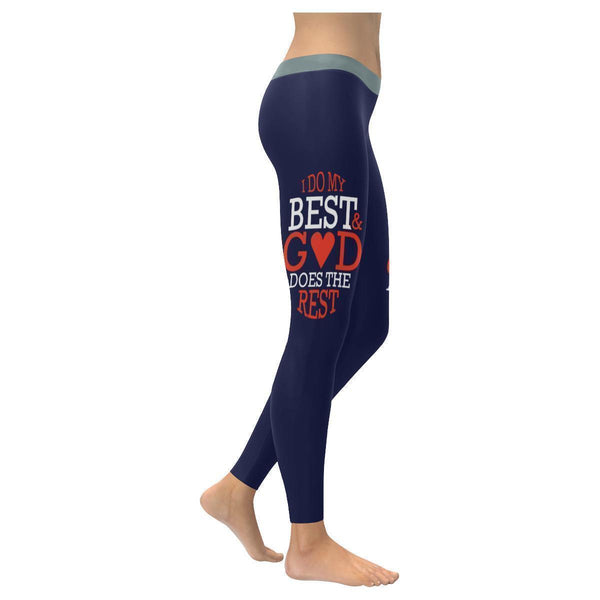 I Do My Best & God Does The Rest Christian Jesus Faith UPF40+ Womens Leggings-XXS-Navy-JoyHip.Com
