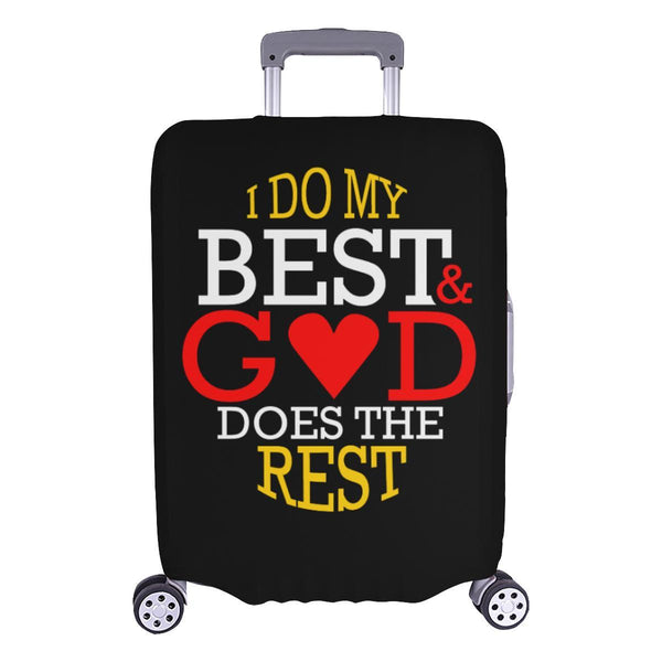I Do My Best God Does The Rest Christian Travel Luggage Cover Suitcase Protector-L-Black-JoyHip.Com