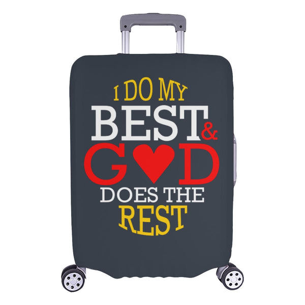 I Do My Best God Does The Rest Christian Travel Luggage Cover Suitcase Protector-L-Grey-JoyHip.Com
