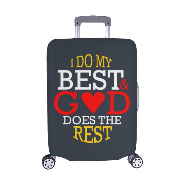 I Do My Best God Does The Rest Christian Travel Luggage Cover Suitcase Protector-M-Grey-JoyHip.Com