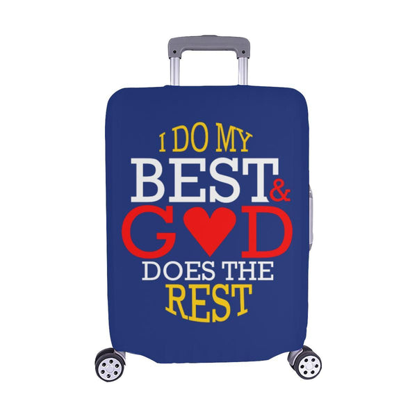 I Do My Best God Does The Rest Christian Travel Luggage Cover Suitcase Protector-M-Navy-JoyHip.Com