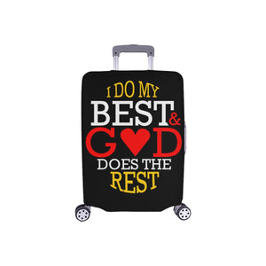 I Do My Best God Does The Rest Christian Travel Luggage Cover Suitcase Protector-S-Black-JoyHip.Com