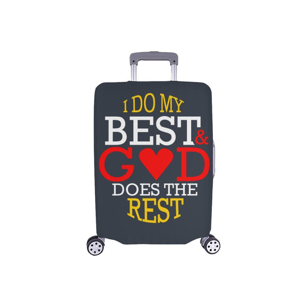 I Do My Best God Does The Rest Christian Travel Luggage Cover Suitcase Protector-S-Grey-JoyHip.Com