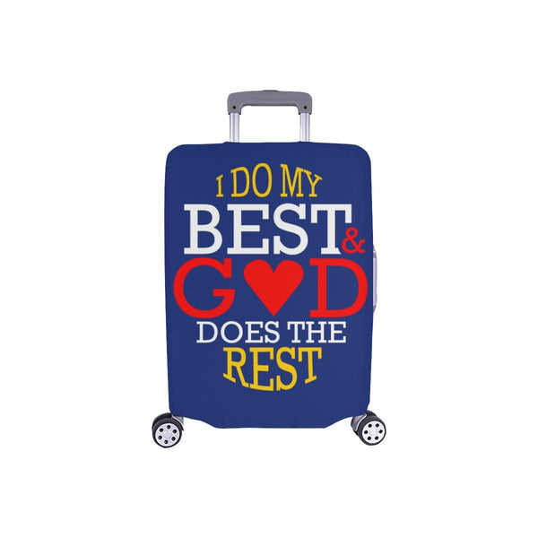 I Do My Best God Does The Rest Christian Travel Luggage Cover Suitcase Protector-S-Navy-JoyHip.Com