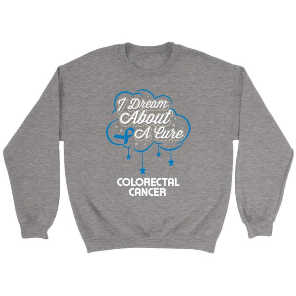 I Dream About A Cure For Colorectal Cancer Awareness Blue Ribbon Sweater-T-shirt-Crewneck Sweatshirt-Grey-JoyHip.Com
