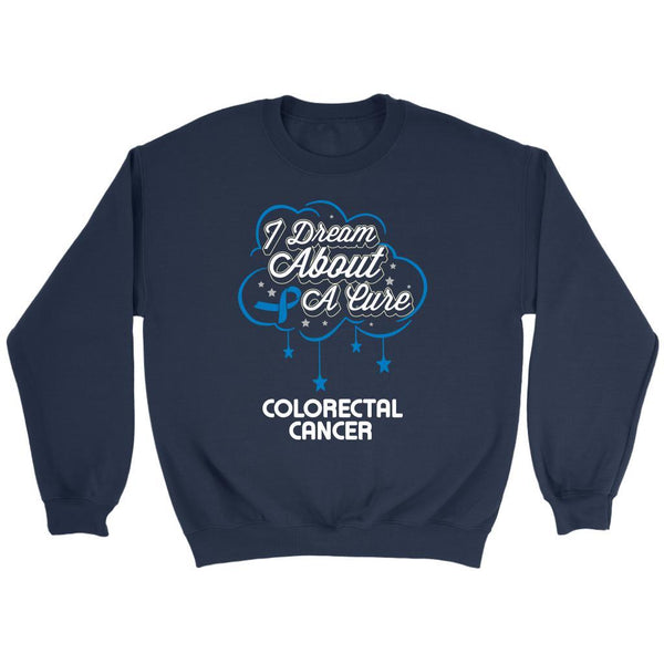 I Dream About A Cure For Colorectal Cancer Awareness Blue Ribbon Sweater-T-shirt-Crewneck Sweatshirt-Navy-JoyHip.Com