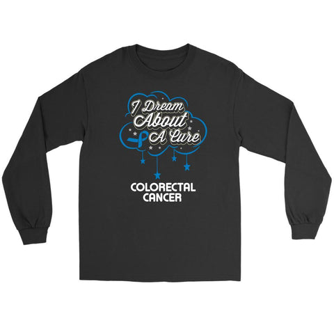 I Dream About A Cure For Colorectal Cancer Blue Ribbon Gift Long Sleeve Shirt-T-shirt-Gildan Long Sleeve Tee-Black-JoyHip.Com