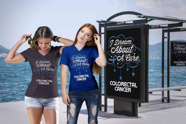 I Dream About A Cure For Colorectal Cancer Blue Ribbon Gift VNeck TShirt-T-shirt-JoyHip.Com