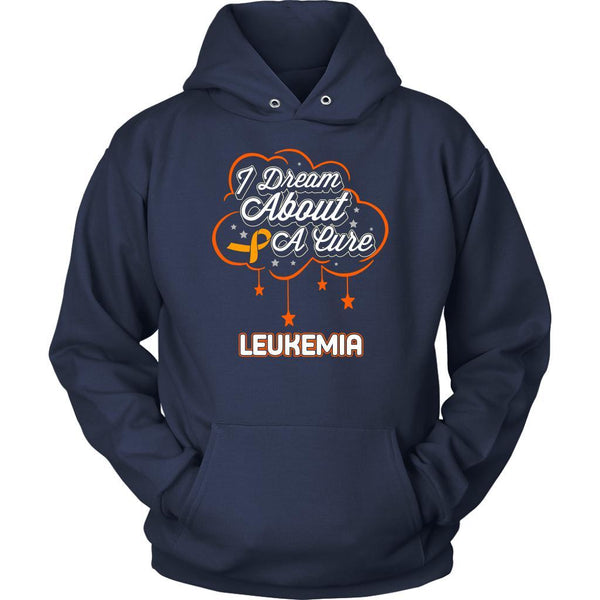 I Dream About A Cure For Leukemia Awareness Orange Ribbon Hoodie-T-shirt-Unisex Hoodie-Navy-JoyHip.Com