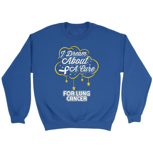 I Dream About A Cure For Lung Cancer Awareness White Ribbon Sweater-T-shirt-Crewneck Sweatshirt-Royal Blue-JoyHip.Com
