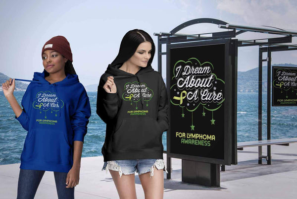 I Dream About A Cure For Lymphoma Awareness Lime Green Ribbon Gift Idea Hoodie-T-shirt-JoyHip.Com