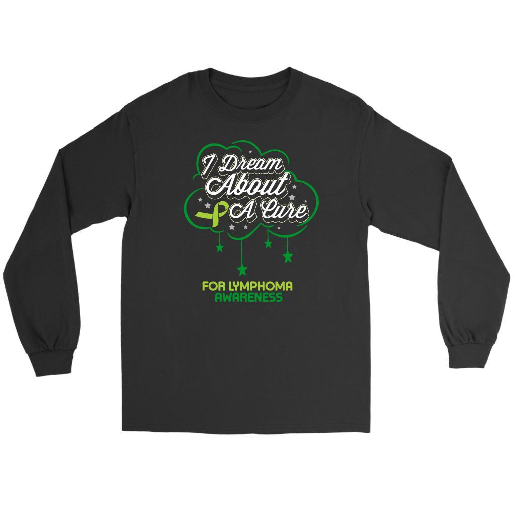 I Dream About A Cure For Lymphoma Awareness Lime Green Ribbon Gift Long Sleeve-T-shirt-Gildan Long Sleeve Tee-Black-JoyHip.Com