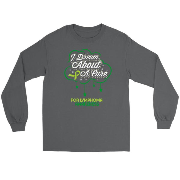I Dream About A Cure For Lymphoma Awareness Lime Green Ribbon Gift Long Sleeve-T-shirt-Gildan Long Sleeve Tee-Grey-JoyHip.Com