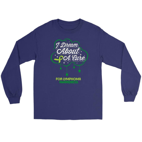 I Dream About A Cure For Lymphoma Awareness Lime Green Ribbon Gift Long Sleeve-T-shirt-Gildan Long Sleeve Tee-Purple-JoyHip.Com