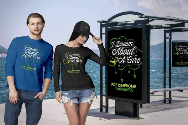 I Dream About A Cure For Lymphoma Awareness Lime Green Ribbon Gift Long Sleeve-T-shirt-JoyHip.Com