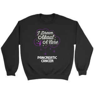 I Dream About A Cure For Pancreatic Cancer Awareness Purple Ribbon Gift Sweater-T-shirt-Crewneck Sweatshirt-Black-JoyHip.Com