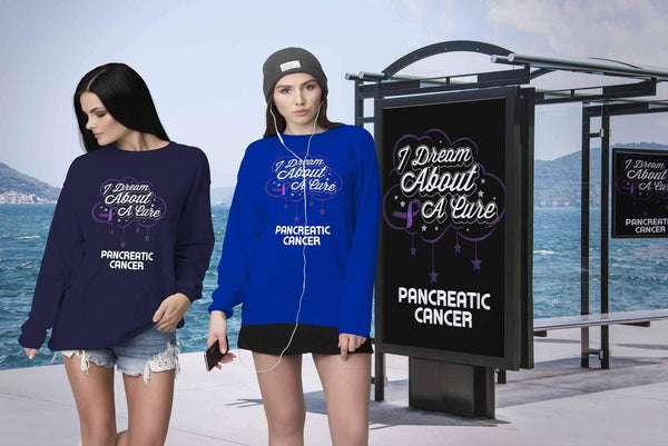 I Dream About A Cure For Pancreatic Cancer Awareness Purple Ribbon Gift Sweater-T-shirt-JoyHip.Com