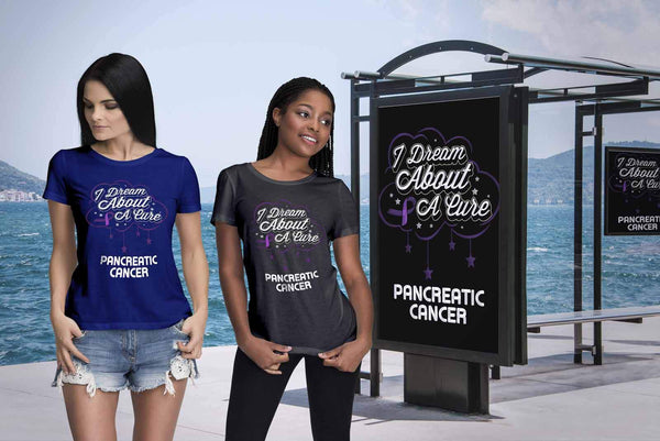 I Dream About A Cure For Pancreatic Cancer Awareness Purple Ribbon Women TShirt-T-shirt-JoyHip.Com