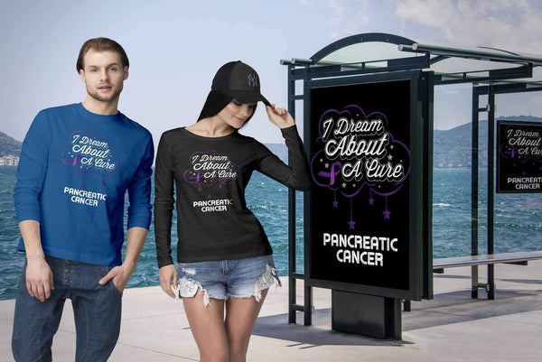 I Dream About A Cure For Pancreatic Cancer Purple Ribbon Gift Long Sleeve-T-shirt-JoyHip.Com