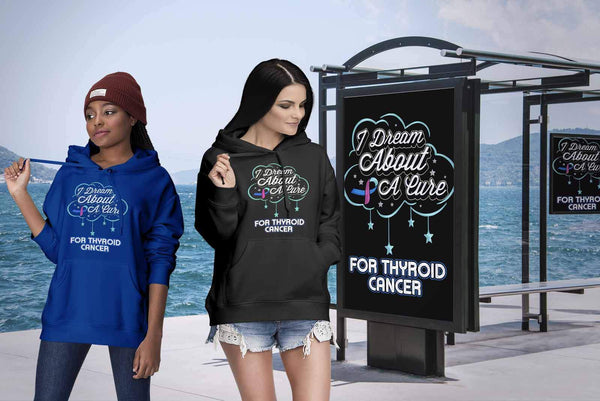 I Dream About A Cure For Thyroid Cancer Awareness Teal Pink & Blue Ribbon Hoodie-T-shirt-JoyHip.Com