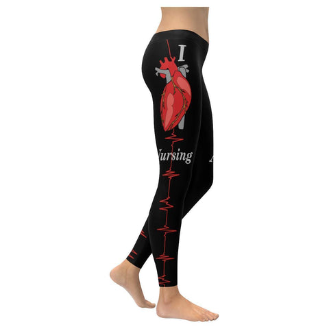 I Heart Nursing ECG RN Registered Nurse Practitioner LPN UPF40+ Womens Leggings-XXS-Black-JoyHip.Com