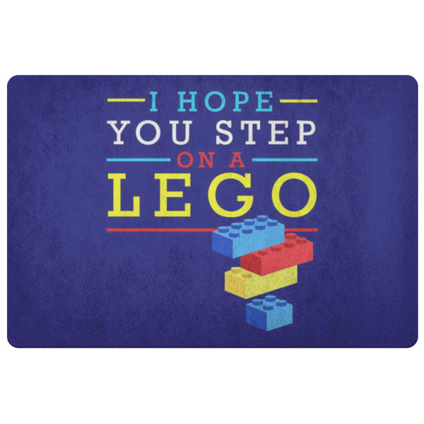 I Hope You Step On A Lego 18X26 Door Mat Funny Gift Ideas Sarcastic Humor Snarky-Doormat-Navy-JoyHip.Com